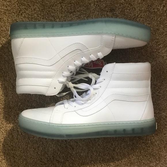 6a7163e45dd8 Vans White Leather Skate Hi Clear Icy Ultracush 10